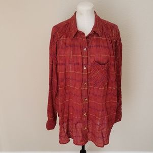 Free People Button Down Plaid Shirt Large